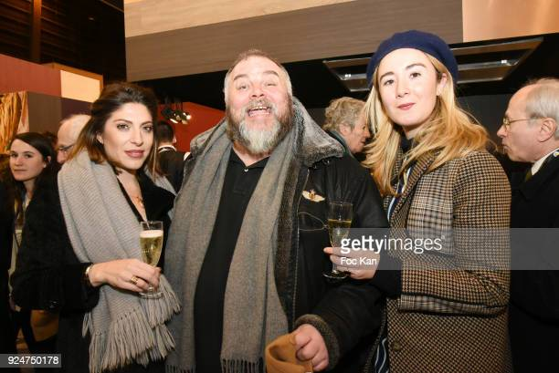 Actress Anais Daoud Editor in chief of Grand Seigneur Magazine Olivier Malnuit and Celine Mori attend Filles A Cotelettes Cocktail hosted by Grand...