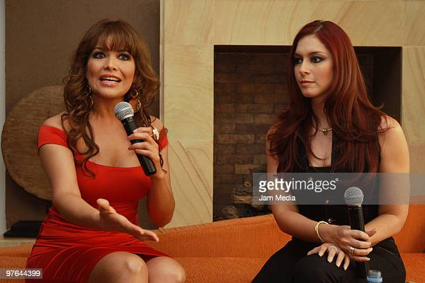 Actress Anais Salazar and Lili Brillanti speak during the presentation of the H Extremo Magazine at the Castelar Restaurant on March 11, 2010 in...