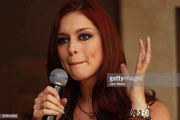 Actress Anais Salazar speaks during the presentation of the H Extremo Magazine at the Castelar Restaurant on March 11 2010 in Mexico City Mexico