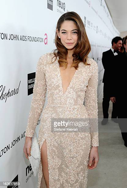 Actress Analeigh Tipton attends Chopard at 21st Annual Elton John AIDS Foundation Academy Awards Viewing Party at West Hollywood Park on February 24...