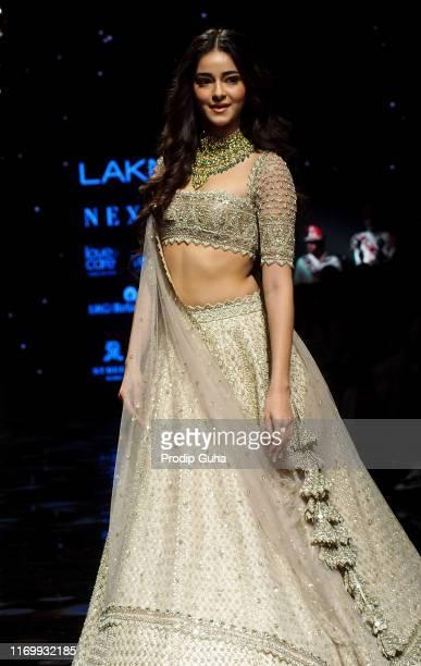 Actress Ananya Pandey walks the runway wearing designer Anushree Reddy at Lakme Fashion Week winter collection 2019 at St Regis Hotel on August 24,...