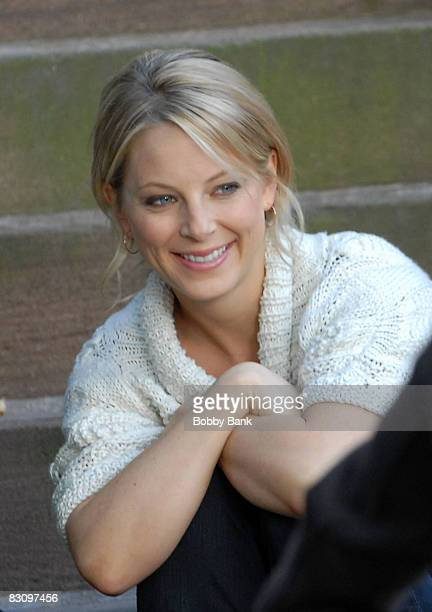 Actress Anastasia Griffith on location for 'Damages' on the streets of Brooklyn on October 2 2008 in New York City