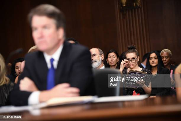 Actress and activist Alyssa Milano listens to Supreme Court nominee Brett Kavanaugh as he testifies before the US Senate Judiciary Committee on...