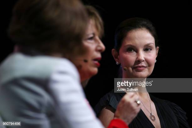 Actress and activist Ashley Judd looks on as US Rep Jackie Speier speaks during the 29th annual Conference of the Professional Businesswomen of...