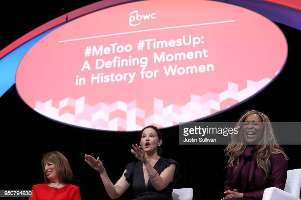 Actress and activist Ashley Judd speaks as US Rep Jackie Speier and CoFounder of We Said Enough Adama Iwu look on during the 29th annual Conference...