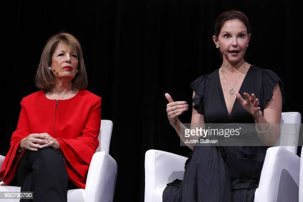 Actress and activist Ashley Judd speaks as US Rep Jackie Speier looks on during the 29th annual Conference of the Professional Businesswomen of...