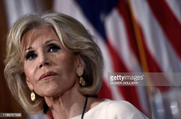 Actress and activist Jane Fonda arrives at a luncheon to speak about her movement to push for political action on climate change at the National...
