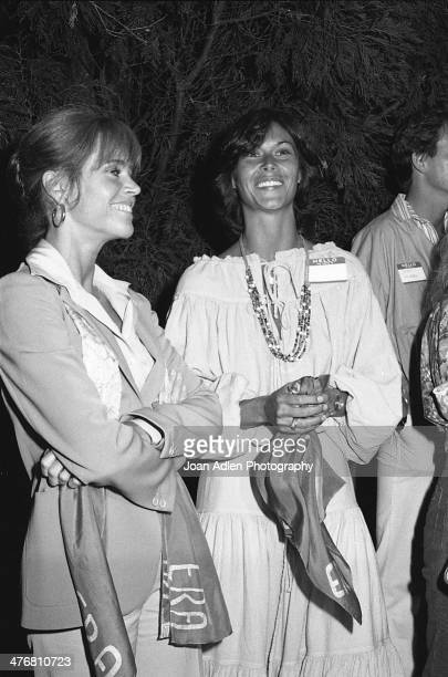Actress and activist Jane Fonda chats with actress Kate Jackson at an ERA event hosted by and at the home of actress producer and social activist...