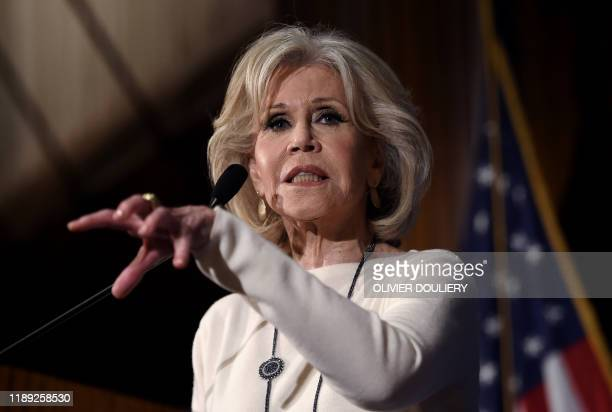 Actress and activist Jane Fonda speaks about her movement to push for political action on climate change during a luncheon at the National Press Club...