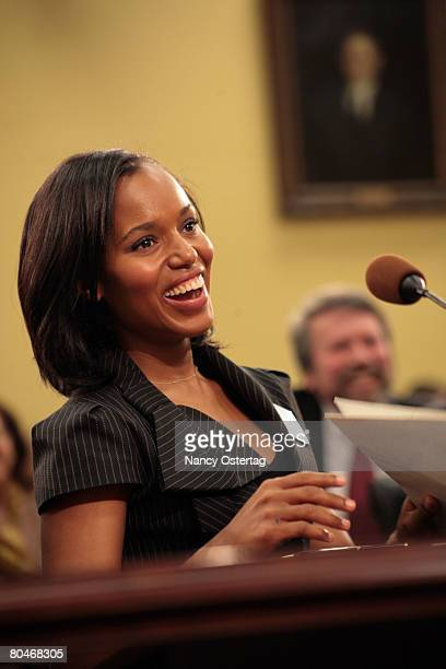 Actress and activist Kerry Washington testifies at the House Appropriations Committee Hearing On Funding For The Arts on April 1 2008 in Washington DC