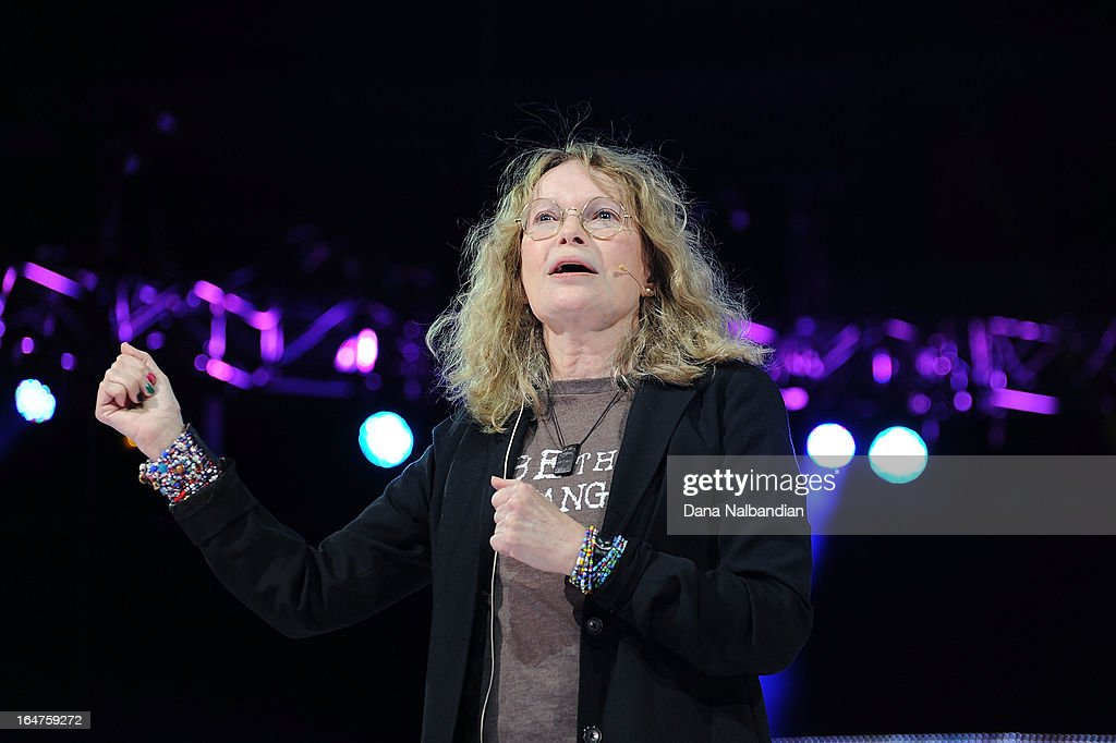 Actress and activist Mia Farrow introduces the history of international charity and educational partner, Free The Children, to 15,000 local youth on stage at the KeyArena at Seattle Center for the first-ever We Day Seattle on March 27, 2013.
