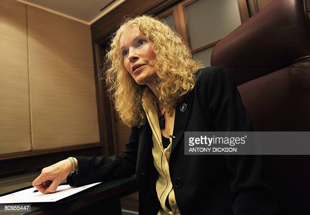 US actress and activist Mia Farrow is seen during an interview at a hotel in Hong Kong on May 2 2008 Farrow called on China to change the course of...