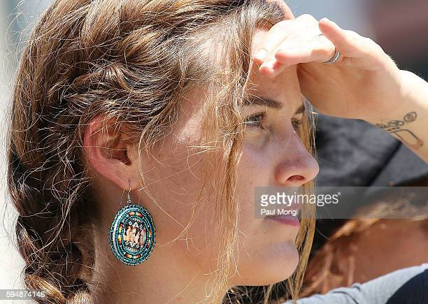 Actress and activist Riley Keough participates in a rally in support of a lawsuit against The Army Corps of Engineers to protect water and land from...