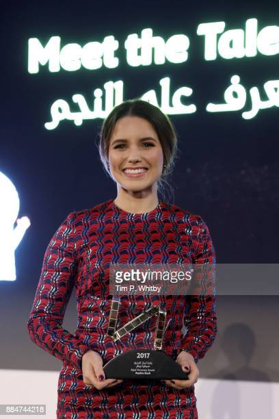 Actress and activist Sophia Bush poses her award at the 'Meet the Talent' with Sophia Bush during the Ajyal Youth Film Festival on December 2 2017 in...