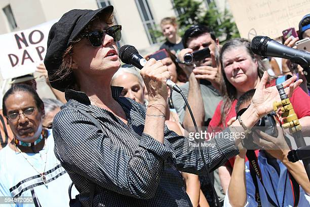 Actress and activist Susan Sarandon speaks at a rally in support of a lawsuit against The Army Corps of Engineers to protect water and land from the...