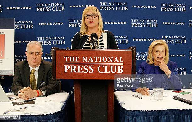 Actress and advocate Patricia Arquette and Rep Carolyn B Maloney discuss 'Gender Pay Inequality Consequences for Women Families and the Economy' at...