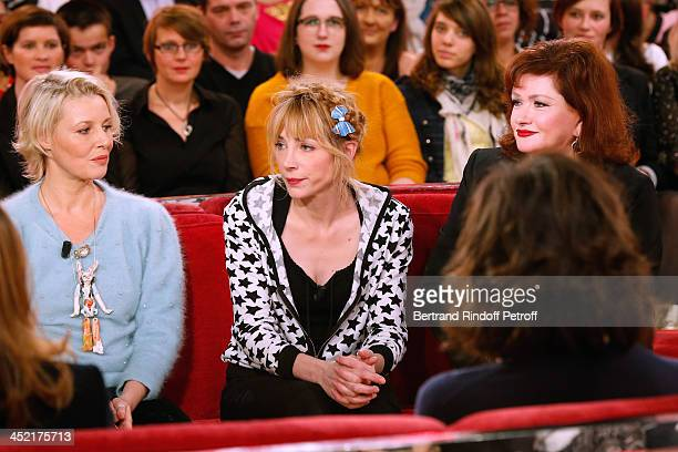 Actress and artist Florence Thomassin actresses Julie Depardieu and Catherine Jacob attend 'Vivement Dimanche' French TV Show at Pavillon Gabriel on...