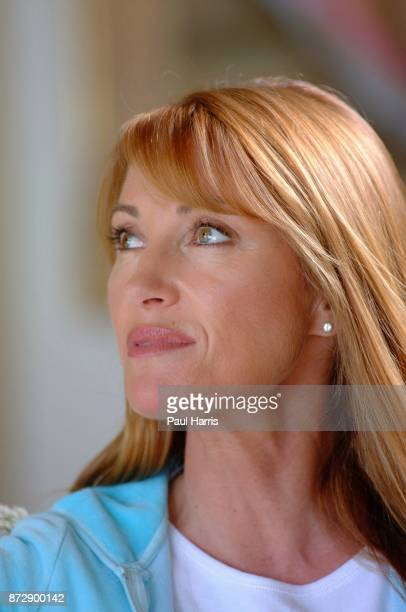 Actress and artist Jane Seymour at her home overlooking the Pacific ocean on June 12 2002 in Malibu California