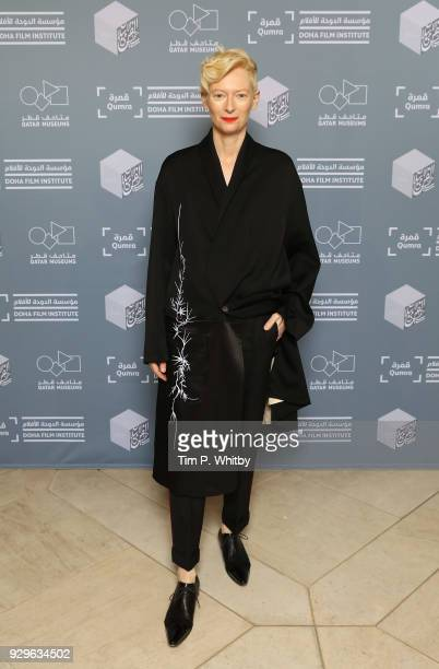 Actress and artist Tilda Swinton attends the screening of 'Okja' during Qumra the fourth edition of the industry event by the Doha Film Institute...