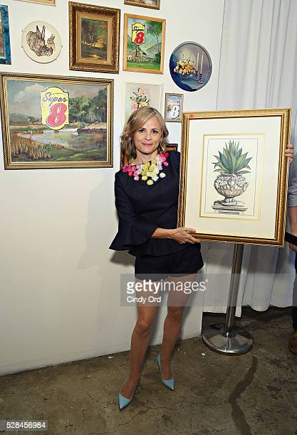 Actress and author Amy Sedaris poses for photo during a oneofakind gallery event to giveaway the brand's old hotel art and celebrate the modern...