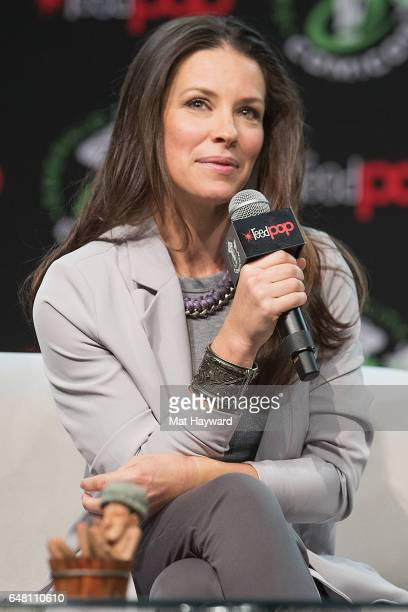 Actress and Author Evangeline Lilly speaks on stage during Emerald City Comic Con at Washington State Convention Center on March 4 2017 in Seattle...