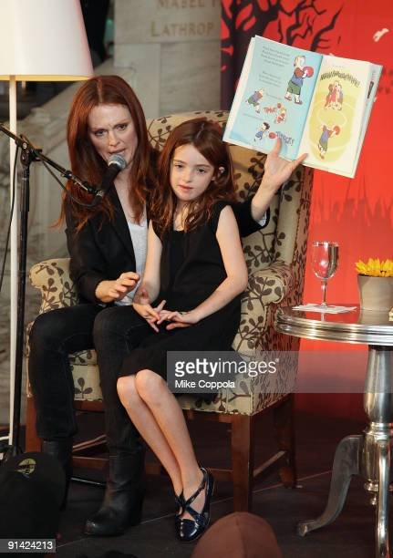 Actress and author Julianne Moore and daughter Liv read to children and promote 'Make it Matter Day' In support of literacy and education at The New...