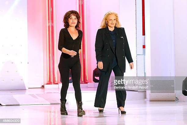 Actress and autor of the Piece Isabelle Mergault and singer Sylvie Vartan present the Theater Play 'Ne me regardez pas comme ca ' performed at...