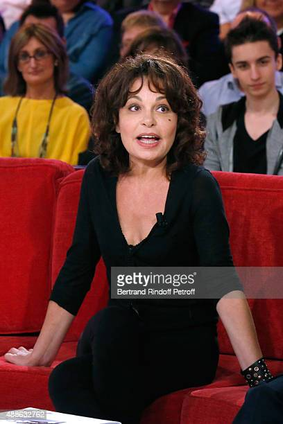 Actress and autor of the Piece Isabelle Mergault presents the Theater Play 'Ne me regardez pas comme ca ' performed at 'Theatre des Varietes' during...