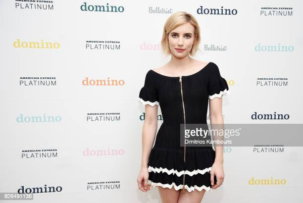 Actress and Belletrist cofounder Emma Roberts attends Domino x American Express Platinum on August 4 2017 in Bridgehampton New York