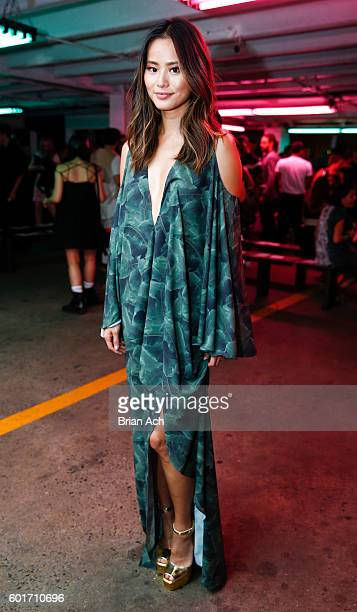 Actress and blogger Jamie Chung poses before the Baja East fashion show during New York Fashion Week September 2016 at 25 Beekman on September 9 2016...