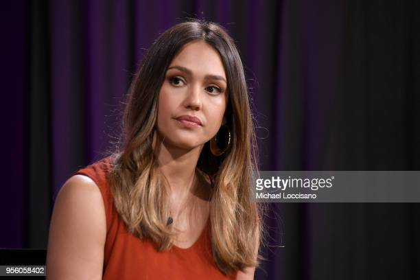 Actress and businesswoman Jessica Alba takes part in a panel during WSJ's The Future of Everything Festival at Spring Studios on May 8, 2018 in New...
