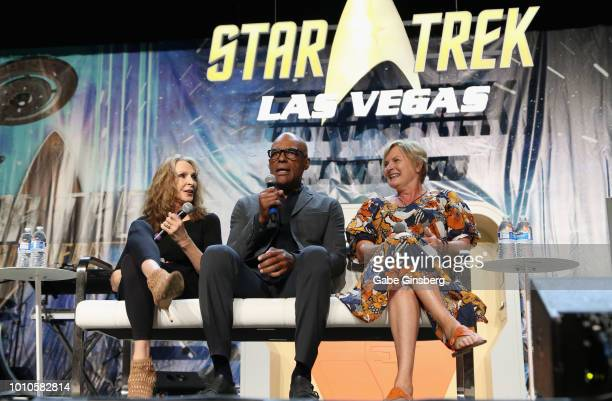 Actress and choreographer Gates McFadden actor Michael Dorn and actress Denise Crosby speak at the TNG Part 1 panel during the 17th annual official...