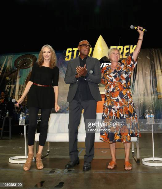 Actress and choreographer Gates McFadden actor Michael Dorn and actress Denise Crosby pose at the TNG Part 1 panel during the 17th annual official...