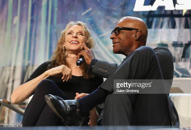 Actress and choreographer Gates McFadden and actor Michael Dorn joke around at the TNG Part 1 panel during the 17th annual official Star Trek...