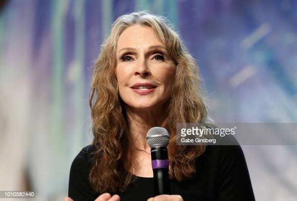 Actress and choreographer Gates McFadden speaks at the TNG Part 1 panel during the 17th annual official Star Trek convention at the Rio Hotel Casino...