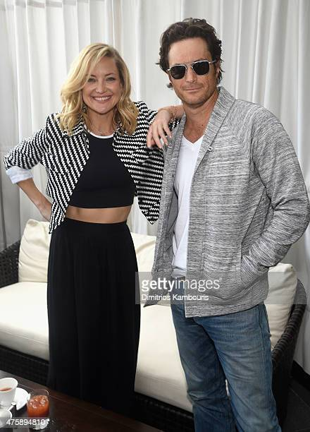 Actress and cofounder of Fabletics Kate Hudson and actor Oliver Hudson attend the FL2 Launch on June 4 2015 in New York City