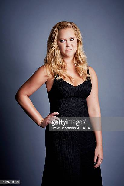 Actress and comedian Amy Schumer poses for a portrait at the 2015 BAFTA Britannia Awards Portraits on October 30 2015 at the Beverly Hilton Hotel in...