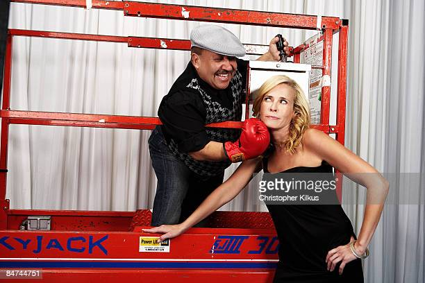 Actress and comedian Chelsea Handler poses with Chuy Bravo for a portrait session in Los Angeles for Vegas Magazine