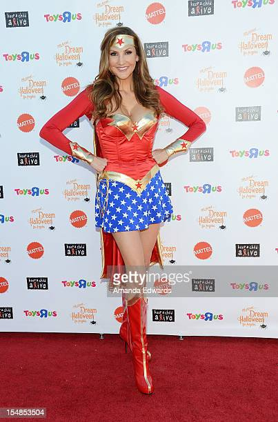 Actress and comedian Heather McDonald arrives at the Keep A Child Alive 2012 Dream Halloween Party at Barker Hangar on October 27 2012 in Santa...