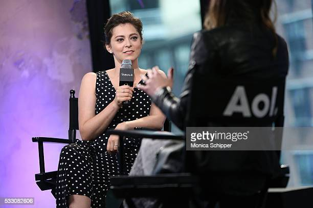 Actress and comedian Rachel Bloom speaks with Leigh Blickley at AOL Build Presents Crazy ExGirlfriend at AOL Studios In New York on May 20 2016 in...