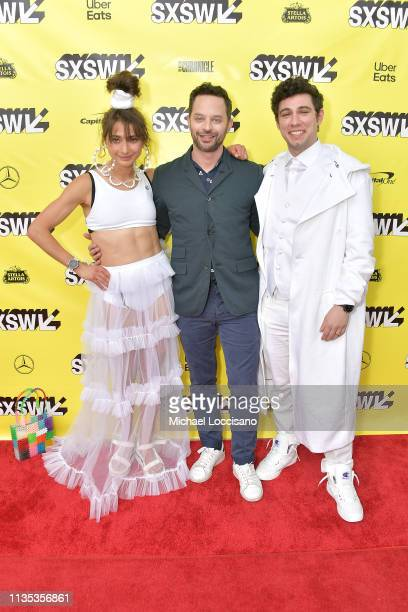 Actress and cowriter Alexi Pappas actor and cowriter Nick Kroll and cowriter Jeremy Teicher attend the 'Olympic Dreams' premiere during the 2019 SXSW...
