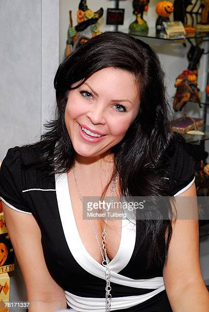 Actress and current Playboy model Christa Campbell poses at an autograph party for the new graphic novel '2001 Maniacs' held at the Dark Delicacies...
