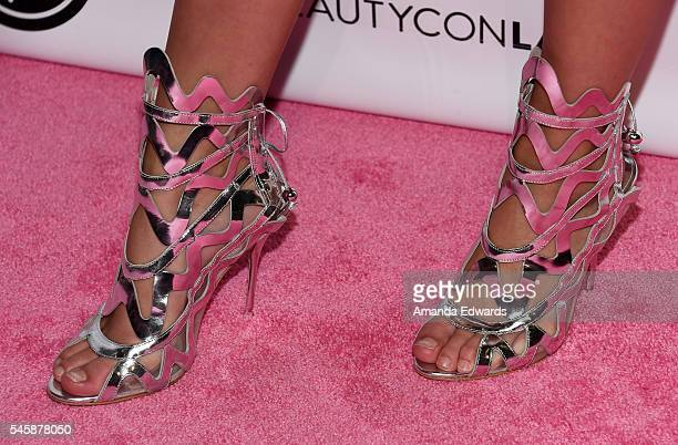 Actress and dancer Chloe Lukasiak shoe detail arrives at the 4th Annual Beautycon Festival Los Angeles at the Los Angeles Convention Center on July 9...