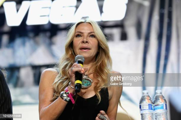 Actress and dancer Cyia Batten speaks at the Guest Stars of DS9 panel during the 17th annual official Star Trek convention at the Rio Hotel Casino on...