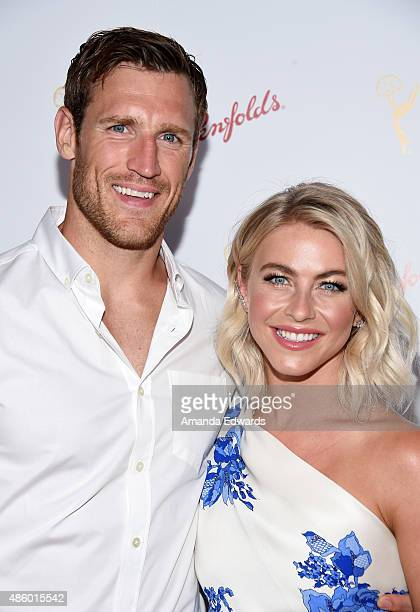 Actress and dancer Julianne Hough and her fiance NHL player Brooks Laich arrive at the Television Academy's cocktail reception for The 67th Emmy...