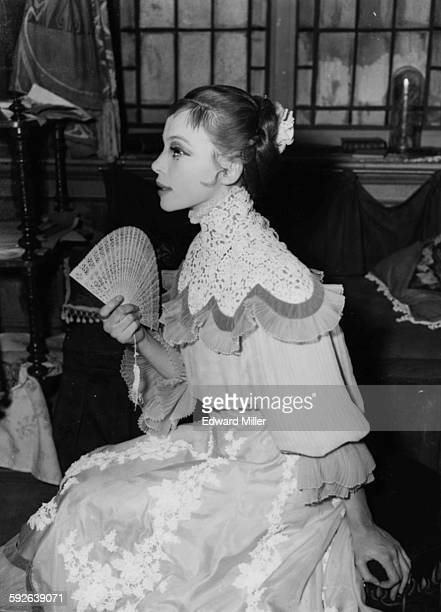 Actress and dancer Leslie Caron in costume during the rehearsals for the play 'Gigi' at the New Theatre London May 22nd 1956