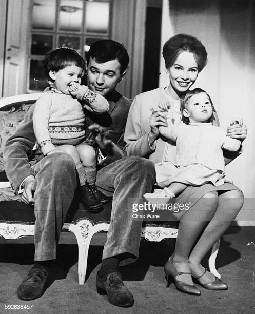 Actress and dancer Leslie Caron with her husband Peter Hall and children Christopher and Jennifer, pictured at their home in Montpelier Square where...