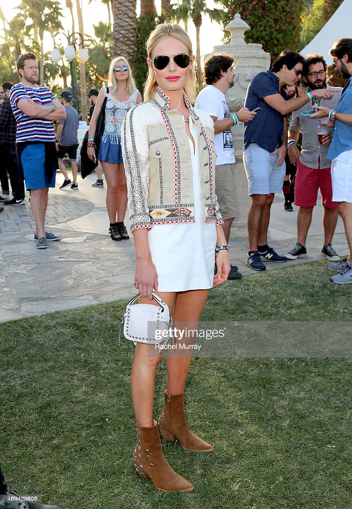 Actress and designer Kate Bosworth wearing boots she designed for her Matisse shoe line and jacket by Etro during the 2015 Coachella Valley Music and Arts Festival - Weekend 1 at The Empire Polo Club on April 11, 2015 in Indio, California.