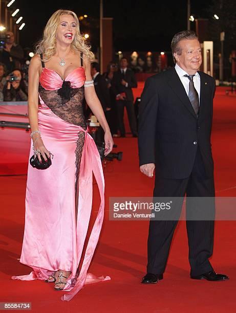 Actress and designer Valeria Marini and producer Vittorio Cecchi Gori arrive at the Marc'Aurelio Acting Award during the 3rd Rome International Film...