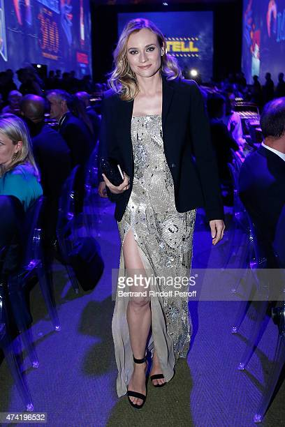 Actress and Diane Kruger enjoys a Martell cocktail at the Martell 300th anniversary event held at the Palace of Versailles on May 20 2015 in...